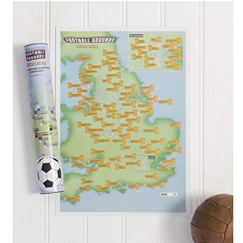 Póster con 92estadios de fútbol con rascas, ideal como regalo para futboleros