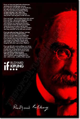 Rudyard-Kipling-Art-Print-IF-POEM-Photo-Poster-With-Signed-Autograph-Reproductions-12x8-Inch-Unique-Gift-Quote-Motivation-Motivational-Inspiration