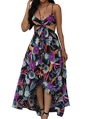 ACHICGIRL Women's Bohemian Floral Printed Cut out High Low Dress Purple