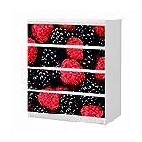 Set Möbelaufkleber für Ikea Kommode MALM 4 Fächer/Schubladen Beere Brombeeren Himbeere rot Obst Küche Aufkleber Möbelfolie sticker (Ohne Möbel) Folie 25B513