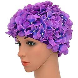 medifier Vintage Floral Petal Retro gorros de natación gorros de baño para las mujeres, morado
