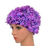 medifier Vintage Blumenmuster Retro Badekappe Badehaube für Damen, violett