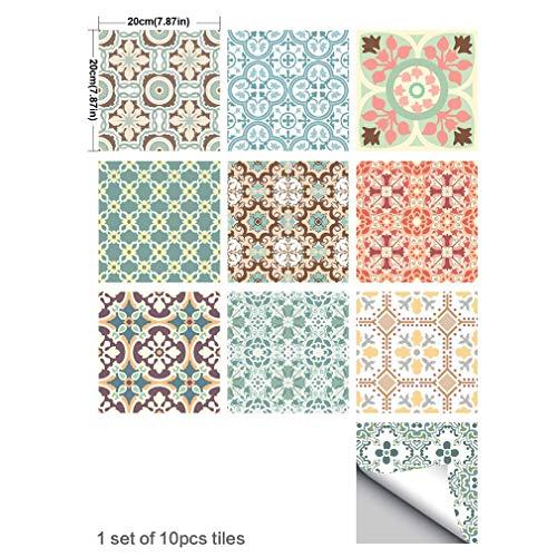 MIRUIKE Mediterrane Fliesensticker DIY Peel und Stick Waterproof Sticker für die Küche Bad Dekorativ