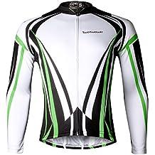 Twotwowin Cómodo Respirable Secado rápido Manga Larga jersey de Ciclismo Chaqueta Ciclo Jersey para Fresco Diseño (Black Top, L)