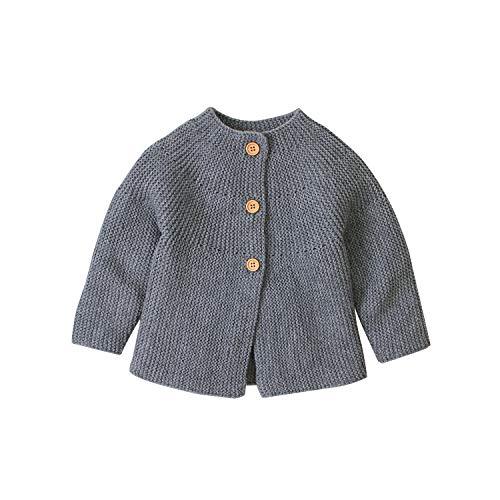 Hailouhai Herbst Winter Neugeborenen Baby Mädchen Pullover niedlich Langarm Kleidung Strickjacke Pullover warm halten Outfits (0-3 Monate, Grau)