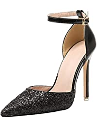 BIGTREE Spitze Zehen Pumps Damen Kleid High Heels von Metall Schnalle Blau Schuhe 40 EU Q2C6jGk