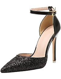BIGTREE Spitze Zehen Pumps Damen Kleid High Heels von Metall Schnalle Blau Schuhe 40 EU
