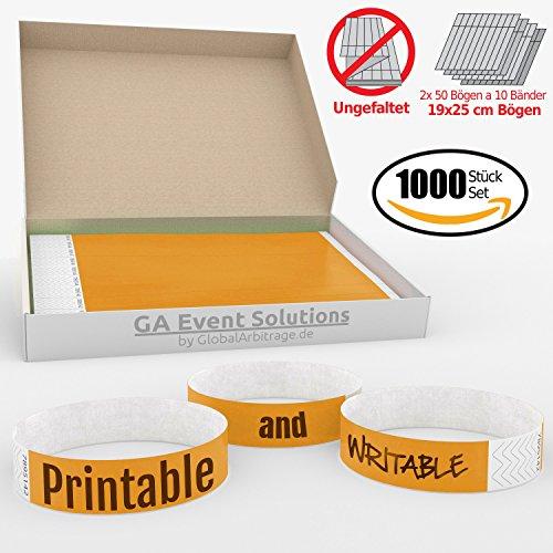 1000 Eintrittsbänder aus Tyvek zum selbst gestalten und bedrucken in Orange von GA Event Solutions - Party Einlassbänder, Festival Armbänder für dein Event (Tyvek-armbänder 1000)