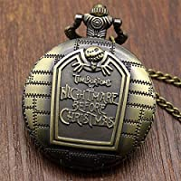 Fligatto Pocket Watch The Nightmare BeCompatible Withe Christmas Vintage Antique Pendant Round Shape