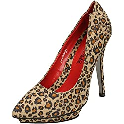Spot On , Damen Pumps, - Leopard Print - Größe: 35