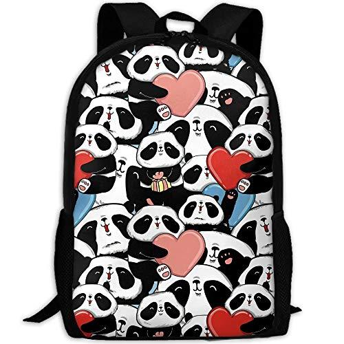 TTmom Schulrucksack,Schüler Bag,Rucksack Damen Herren A Collage of Pandas Holding Hearts and Presents Bookbags School Backpack Laptop Schoolbag for Teens Girls Boys High School