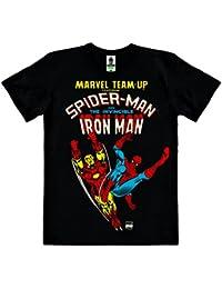 Marvel Comics - Marvel Team-Up - Spider-Man Et L'Invincible Iron Man - T-Shirt 100 % coton organique (agriculture biologique) - noire - design original sous licence - LOGOSHIRT