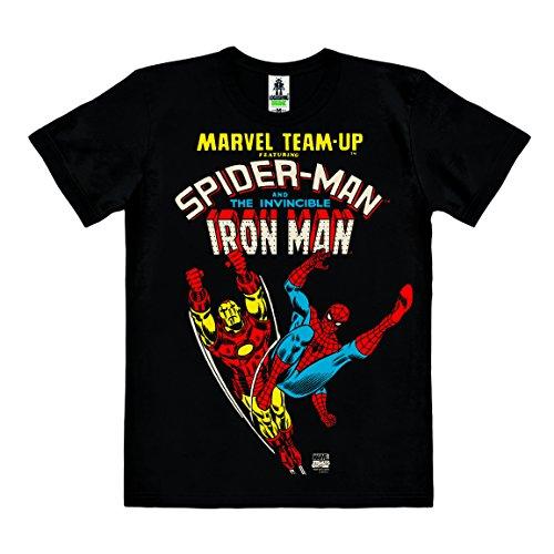 Logoshirt Marvel Comics - Marvel Team-Up - Spider-Man & Der unbesiegbare Iron Man - T-Shirt Organic Herren - schwarz - Bio Baumwolle - Organic Cotton - Lizenziertes Originaldesign, Größe XS