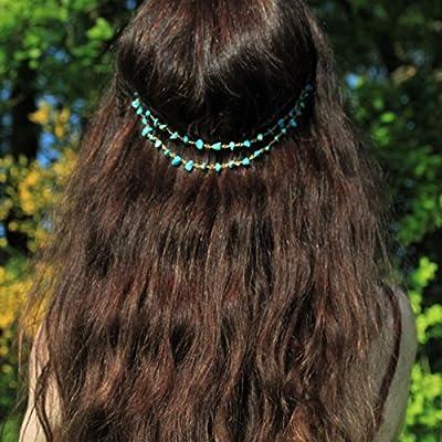 Bijou de tête turquoise/perles chips/accessoire coiffure/coiffe headband/pince cheveux/cadeau pour elle/look été bohème
