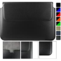 Emartbuy Acer Spin 7 SP714 Notebook 14 Pollice Carbonio Fibre Finish Nero PU Pelle Magnetica Case Custodia Wallet Folio Sleeve ( 13.3 to 14 Pollice )