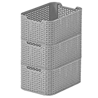 CURVER Style Small Designer Rectangular Storage Basket Set of 3 (Grey, Small)