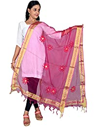 Fashion Store Tissue Mirror Work Party Wear Dupatta,chunni,stole,scarves(Length:99 Inche,Rani Pink)