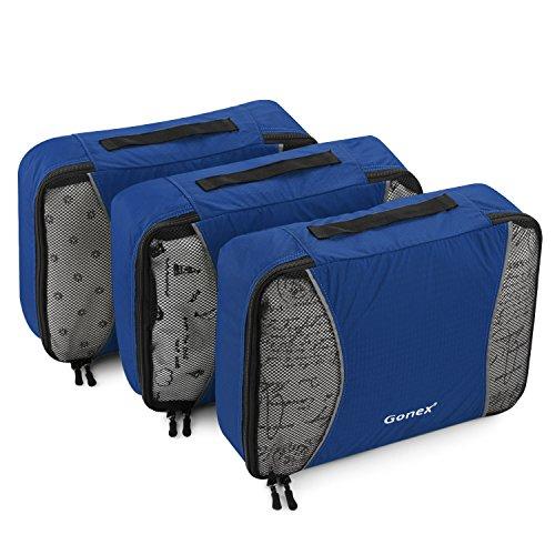 Gonex Kit de Organisateur Valise Sacs de Rangement Cube Housse Vetement Voyage 3 unités