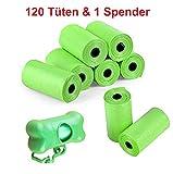 AGIA TEX Germany 120 Stück Hunde-Kotbeutel mit Kotbeutelspender & Leinenclip | solide, wasserdicht & blickdicht | extra große Hundetüten 22 x 30 cm einzeln entnehmbar | ohne Chemie | grün