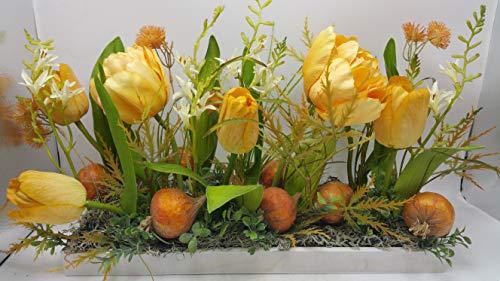 ngsgesteck Blumengesteck Tulpen Blüten Gräser Zwiebeln orange ()