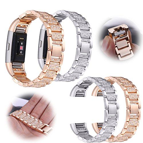 For Fitbit Charge 2!2017 Stainless Steel Diamond Replacement Bangle Bracelet Strap Wrist Band
