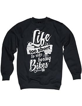 Life Is Too BREVE ANDARE IN MOTO Boring BICICLETTE MAGLIONE GOLFINO NERO SKULL OLDSCHOOL MC TGL S – 3XL