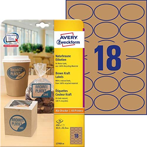Avery Zweckform l7103-25Etichette per Prodotti (A4, 450pezzi, ovale, 42,3X 63,5mm) 25fogli naturbraun