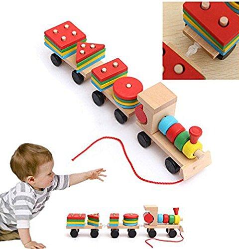 Brigamo HolzEisenbahn Set mit Lokomotive, Waggons und 16 Holz Bausteinen, Holzspielzeug Eisebahn Zug mit 3 Waggons und Schnur Zum Ziehen, 32 cm