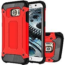 Galaxy S6 Edge+ Funda, HICASER Híbrida Case [Heavy Duty] Rugged Armor Cover, Dual Layer Shock Resistant Carcasa para Samsung Galaxy S6 Edge Plus Rojo