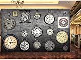LYSBHX 3D Wallpaper Selbstklebend (B) 520X (H) 290Cm Europäische Retro-Vintage-Uhr Taschenuhr 3D Fototapete Wandkunst Dekoration Kinderzimmer 3D Wandbild Junge Mädchen Zimmer Wand Poster Schlafzimmer