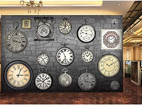 LYBH 3D Wandbild Tapete selbstklebend Fotohintergrund Europäische Retro Vintage Uhr Taschenuhr 300x210 cm (BxH) Kinder Cartoon Junge Mädchen Schlafzimmer Dekoration Poster Tapete Hintergrund Film S