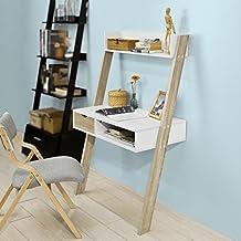 SoBuy® Estanteriá escalera ,estante de pared con 1 cajón y 1 mesa escritorio,2 estante,Librería ,FRG227-WN,ES