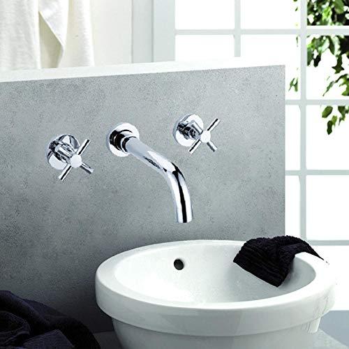 BadezimmerKüchenarmatur Küchenarmaturen, Waschtischarmaturen, Bad Handrad vergraben Wand verdeckte Verkupferung 3-Loch-Gesichtswaschbecken Becken-Set Set von warmen und kalten Wasserhahn 4004