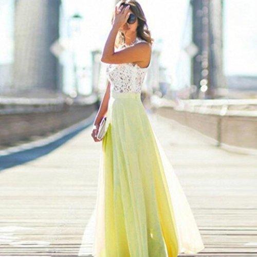 Kleid Damen, Bekleidung Longra Frauen Sommer Spitze Ärmellos langes Maxi Abend Partei Strand Kleid Yellow
