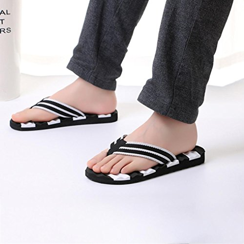QinMM Homme Tongs Pantoufle Colorblock Rayures Massage des Pieds, Été Sandales Intérieur Plein Air Plage Chaussures Flip-Flops Chaussons Blanc