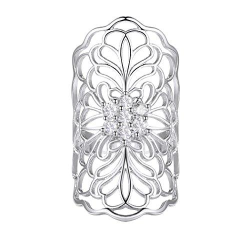 Bague Longue Femme Fleur Suplight Alliance Large Plaqué Or Blanc Serte d'Oxyde de Zirconium Bijoux Fantaisie à La Mode pour Fille Taille 62 (Argenté)