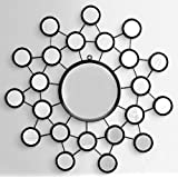 Furnish Craft Circular Shaped Unique Design Black Glass Wall Mirror With Multi Small Mirrors (Size-27 X 27 Inch)
