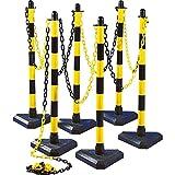 TMS Pro Shop Kettenpfostenset UNI Dreieck, 6-teilig, gelb/schwarz, 10 m Kette, mit PRÜFPLAKETTE