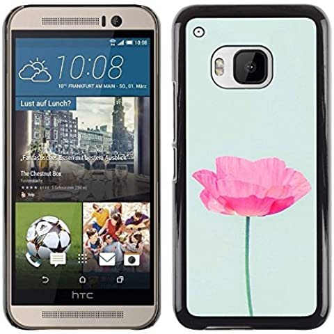 Poppy Sun Flower Spring Nature - Aluminum Metal & plastica dura Phone caso - nero - HTC One M9