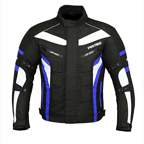 Wasserdicht Motorrad Motorrad Moped Herren Jacke mit CE zugelassenen Rüstung & dicke abnehmbare Futter - für alle Wetter - 6 Packs Design Am beliebtesten - (Schwarz & Blau / Black & Blue, XXXXXX-Large)