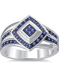 Silvernshine 1.35Ctw Round Cut Tanzanite Simuleted Diamonds 14K White Gold Plated Engagement Ring