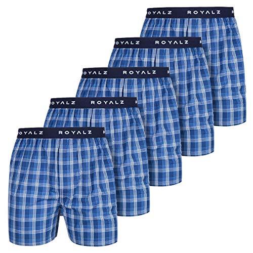 ROYALZ 5er Pack Boxershorts American Style für Herren Männer Unterhosen Kariert Blau klassisch 5 Set Jungen Unterwäsche weit, Größe:L, Farbe:Mississippi Blau Kariert