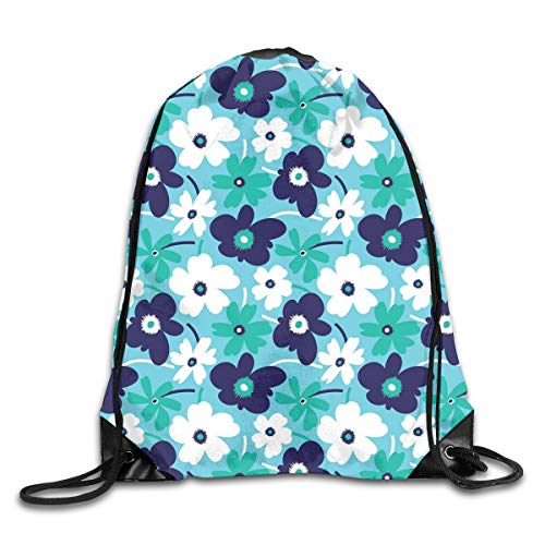 EELKKO Drawstring Backpack Gym Bags Storage Backpack, Artistic Spring Flowers On Blue Backdrop Ditsy Style Nature Inspired Simplistic Blooms,Deluxe Bundle Backpack Outdoor Sports Portable Daypack