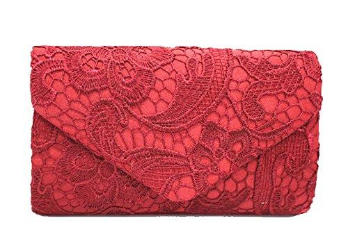DNFC Damen Elegant Clutch Abendtasche mit langer Kette Handtasche Frauen Umhängetasche Spitze Tasche Party Hochzeit Kettentasche Clutch Tasche (Weinrot) (Box-clutch-schwarz-abend-taschen)