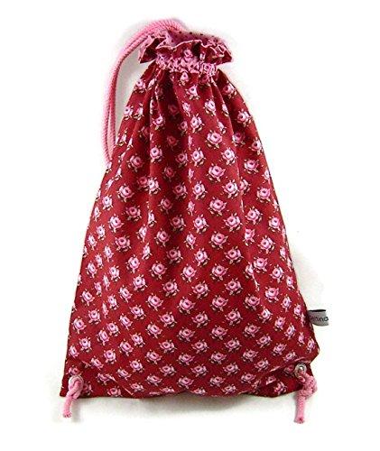 bettina bruder - Turnbeutel Sportbeutel Wäschesack Rosen Blumen Punkte rot weiß rosa - ca. 28 cm x 39 cm Brüder Rose