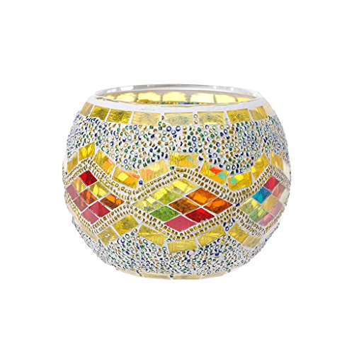 Yunso Waves photophores Verre Europe Style mosaïque bougeoirs Cylindre votive Décoration de tasses