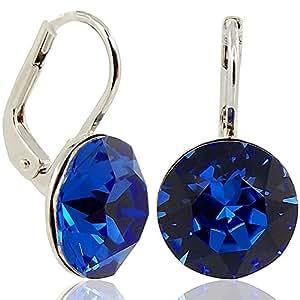 Ohrringe mit Kristallen von Swarovski® - Farbe Silber Safir - Blau - Made in Germany