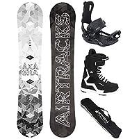 AIRTRACKS Snowboard Set - Tabla Akasha Wide 152 - Fixation Master - Softboots Strong 45 - SB Bag