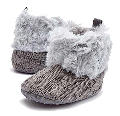 Unisex Baby Schuh Krabbel Hausschuhe Babyschuhe Babystiefel Weiche Winterschuhe Für 0-18 Monate (11cm(0-6months Baby), Grau)