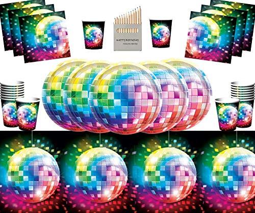 ty Supplies 70er Jahre Rainbow Party Pack für 16- Einweg Disco Teller Tassen Servietten Tisch Decken ()